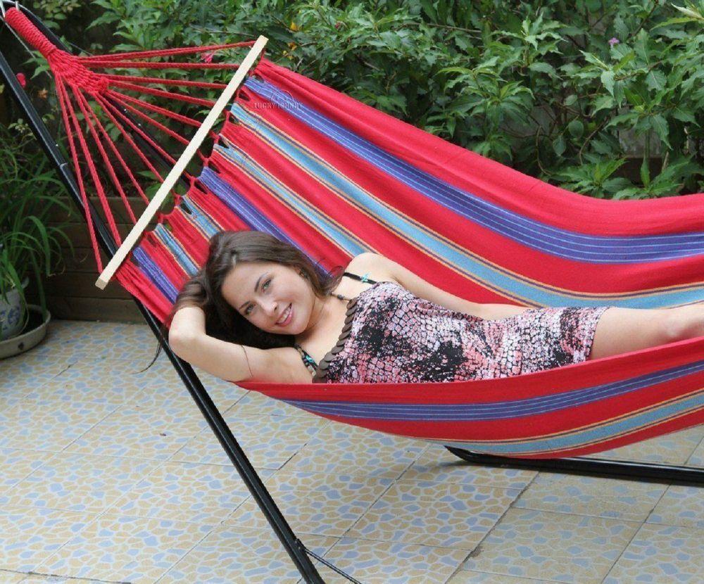 Stabhängematte Hängematte  Welcome  mit Baumaufhängung rot blau 100x200 cm | Elegant und feierlich  | Eleganter Stil