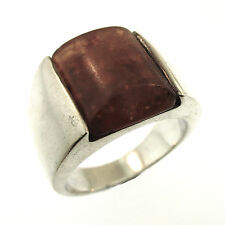 Baltic Amber Ring Size 10.5 Sterling Silver Rectangle Cabochon Channel Set Honey