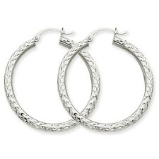 14k White Gold Diamond-cut 3mm Round Hoop Earrings. 35mm Diameter.