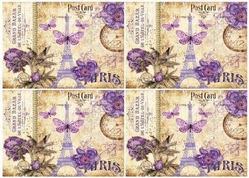 DECOUPAGE-bastelpapier-Soft carta-vintage-Parigi 12707