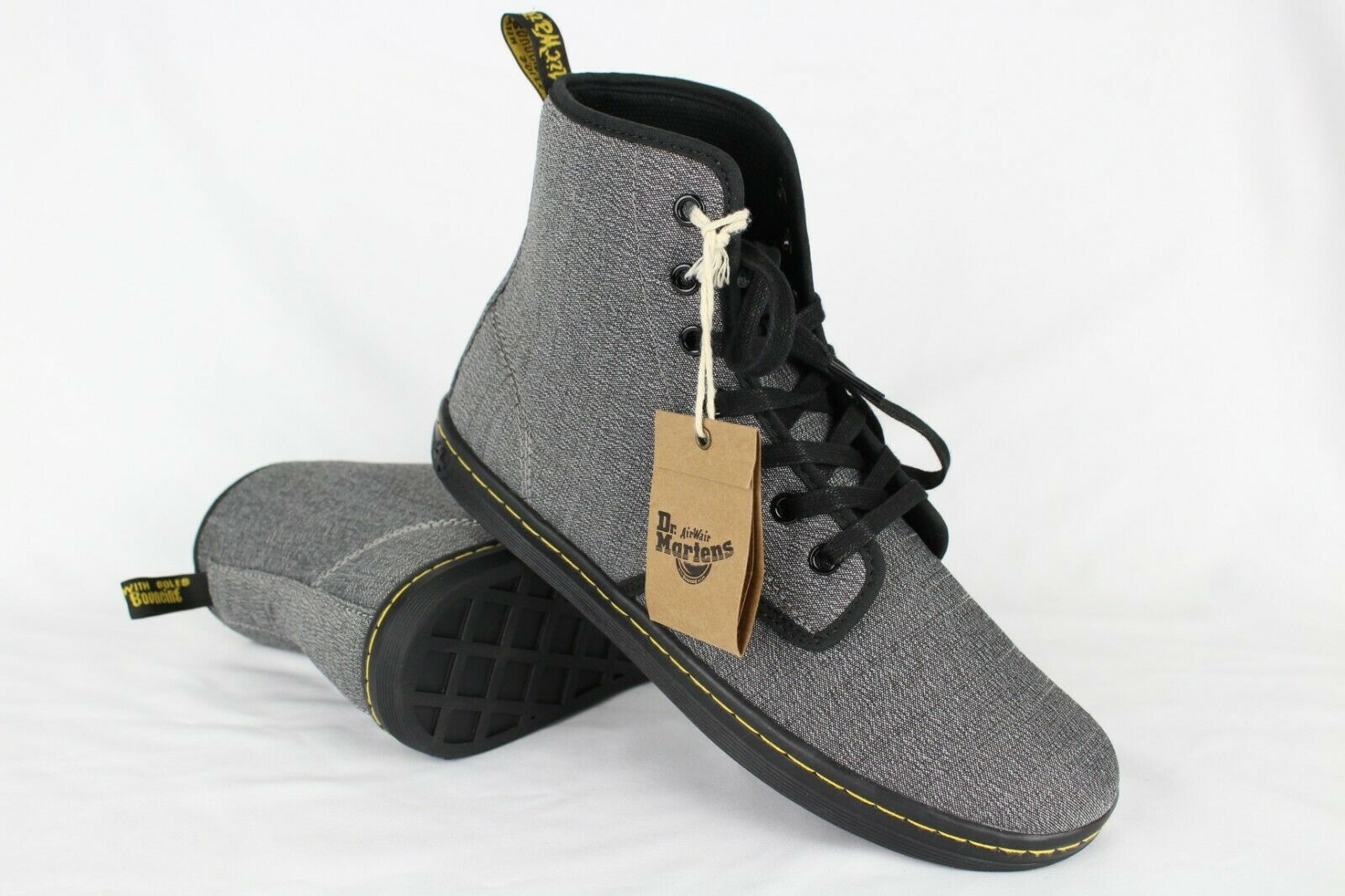 New Dr. Martens Women's Shoreditch Twill 7-Eye Boots Size 10 Mid Grey Serge