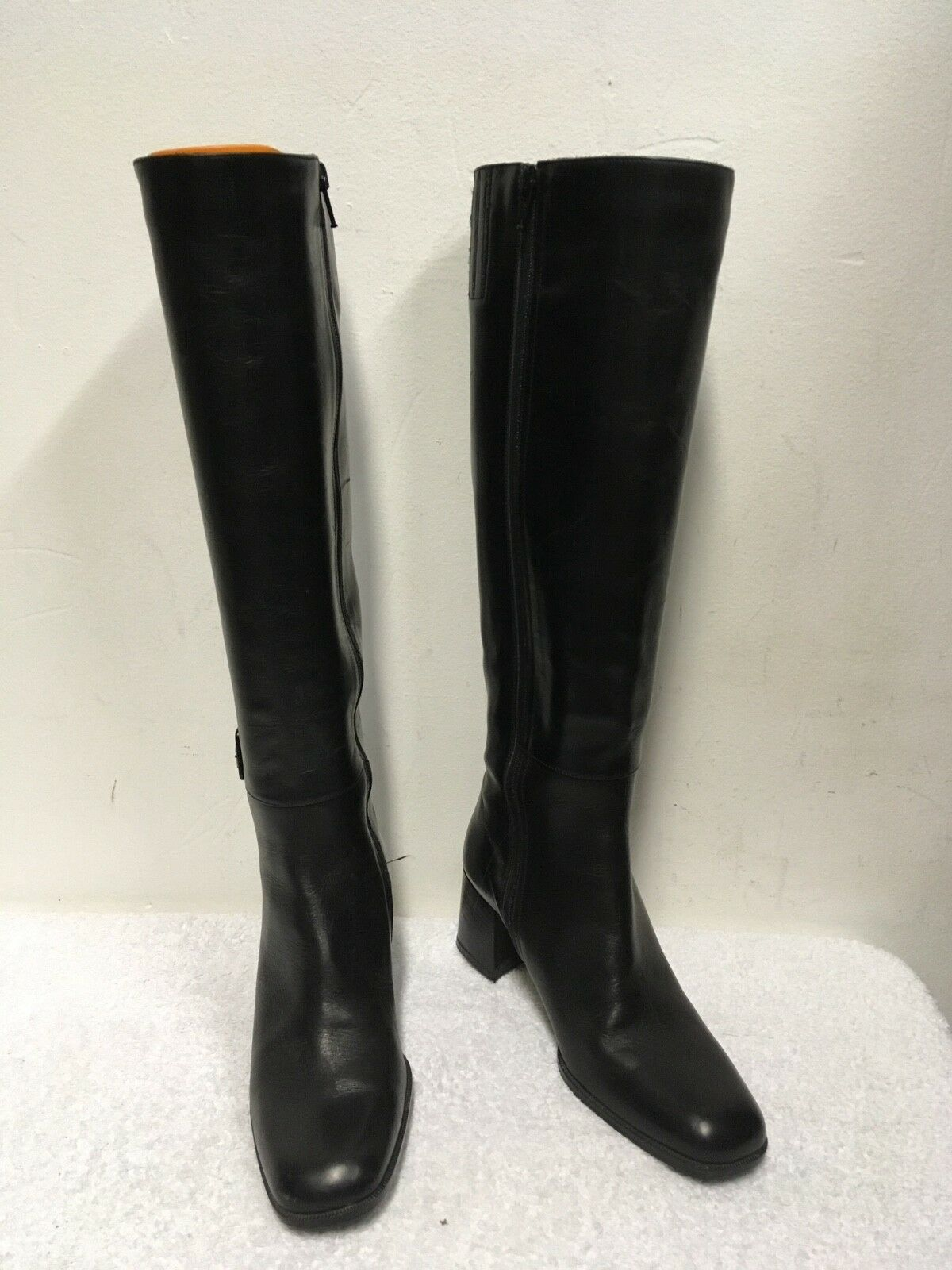 BALLY ROCCAPIA BLACK LEATHER SLIM LEG KNEE LENGTH BUCKLE TRIM BOOTS SIZE 3.5 36