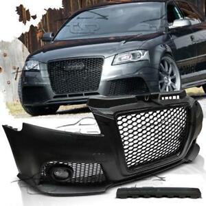Details about FRONT BUMPER FOR AUDI A3 8P 08-12 RS3 LOOK BODY KIT FOG  LIGHTS BLACK GRILL