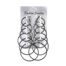 6 Pairs//Set Fashion Hoop Earrings Women Jewelry Circle Black White Charm Simple