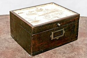 Decorative Wooden Box, Dark Brown, with White, Painted Lid