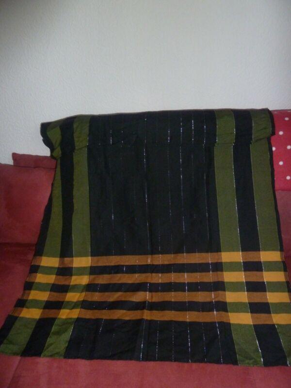 Sanft Schwarzes Schaltuch Mit Oliven Und Maisgelben Streifen, 120 X 80 Cm
