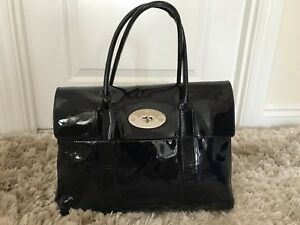 573ceb15682 Image is loading mulberry-bayswater-tote-bag-In-Navy-Patent-Leather