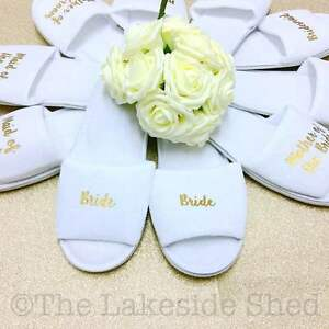 aa5e33aeddc Details about Personalised Bridal Party Spa Slippers Wedding Hen Bride  Bridesmaid Dancing Feet