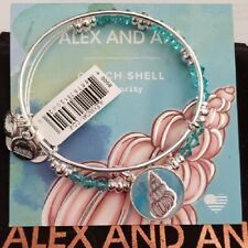 Alex and Ani Conch Shell Art Infusion Set of 2 Bangles Silver Finish