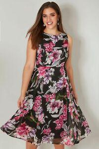 RRP-37-NEW-YOURS-Black-amp-Pink-Floral-Skater-Dress