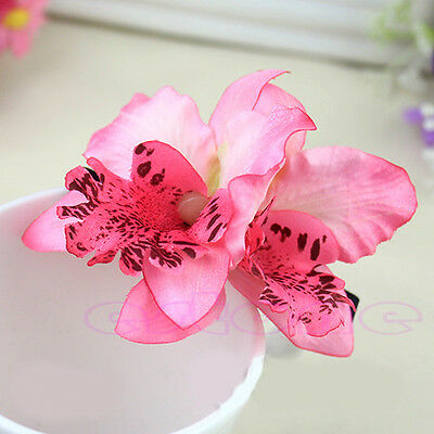 Womens Bridal Wedding Orchid Flower Leopard Hair Clip Barrette Hair Dress Hot