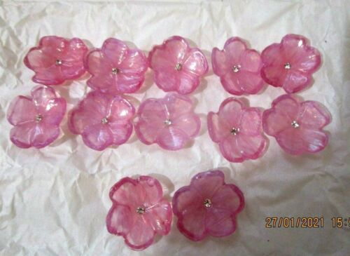 """Lot de 12 fleurs /""""/""""en pâte de  verre avec petit  cristal /""""forme fleur rose"""