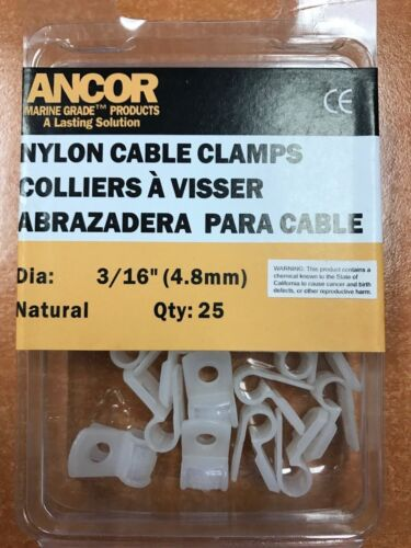CABLE CLAMP NYLON 3/16 MARINE HARDWARE 25 PAC 639 401182 BOAT WIRING RIGGING