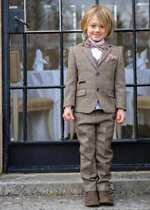 hot-selling latest how to serch popular stores Details about BOY'S DESIGNER 3 PIECE BROWN OR GREY BLUE CHECK TWEED SUIT  AGE 1 TO AGE 14