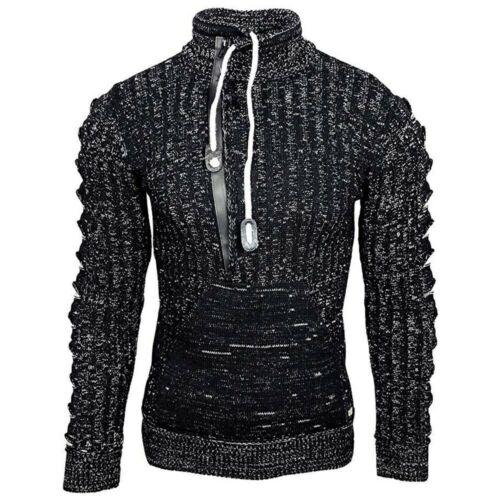 Herren Strickpullover Hoodie Rollkragenpullover Langarm Sweatshirt Pullover Top