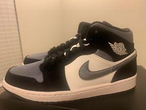 Air-Jordan-1-Mid-SE-Basketball-Shoes-Satin-Black-Grey-852542-011-Men-s-Sz-10-5