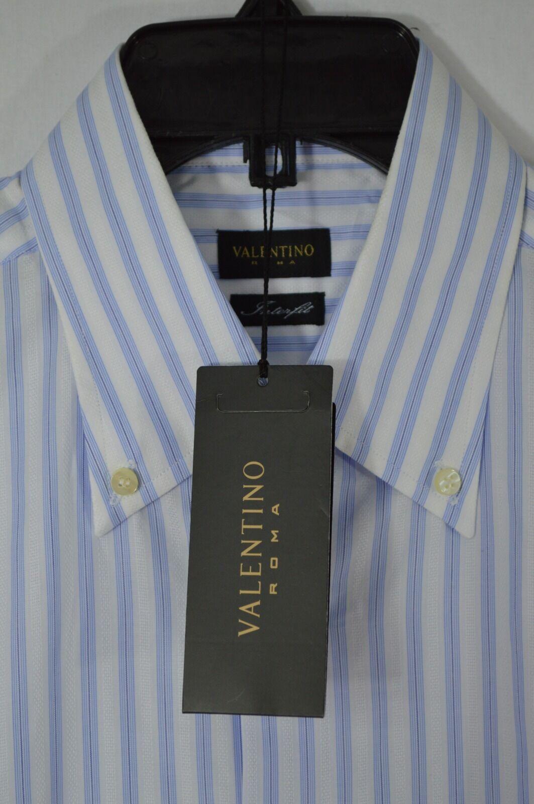 Valentino mens DRESS SHIRT interfit  Weiß STRIPED Blau 16 41