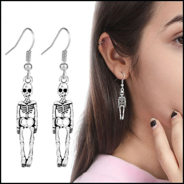 Halloween Antique Skeleton Skull Dangle Earrings For Women Party Punk Jewelry