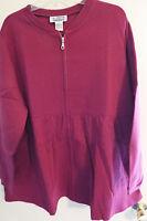 Women's Plus Size Sweatshirt Zip Up Jacket In Burgundy In L (18/20)