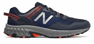 New-Balance-Men-039-s-410V6-Trail-Shoes-Navy-With-Orange-amp-Grey