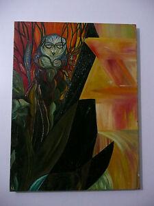 Huile-sur-toile-de-Aubertine-Lescoat-tableau-peinture-Table-oil-on-canvas