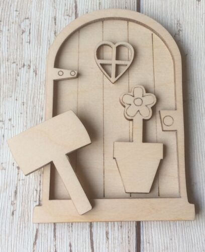 Adorable 3D láser de corte madera hadas FAERIE Elf puerta 3D FD Sin Pintar