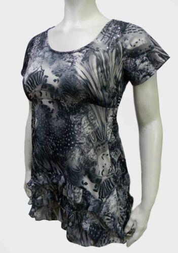 Ladies Plus Size 26 Grey Black Ruffle Bottom Top Sequin Detail Tie Back New