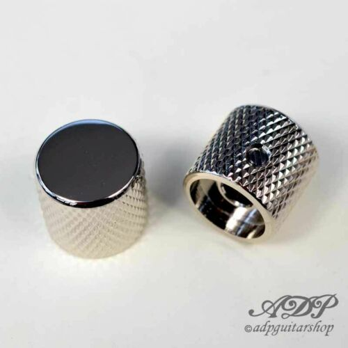 2x Boutons 20x19 Flat Top Knob for Split Shaft NICKEL 6mm BigGrip Tele P-Bass