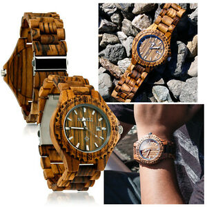 Bewell-Zebra-Wood-Wristwatch-Wooden-Watch-Date-Bracelet-Bangle-Quartz-Ecowatch