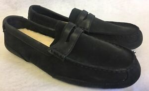 c37e3d21a3a Image is loading UGG-TUCKER-BLACK-LEATHER-SLIPPERS-MOCCASINS-Penny-Loafers-