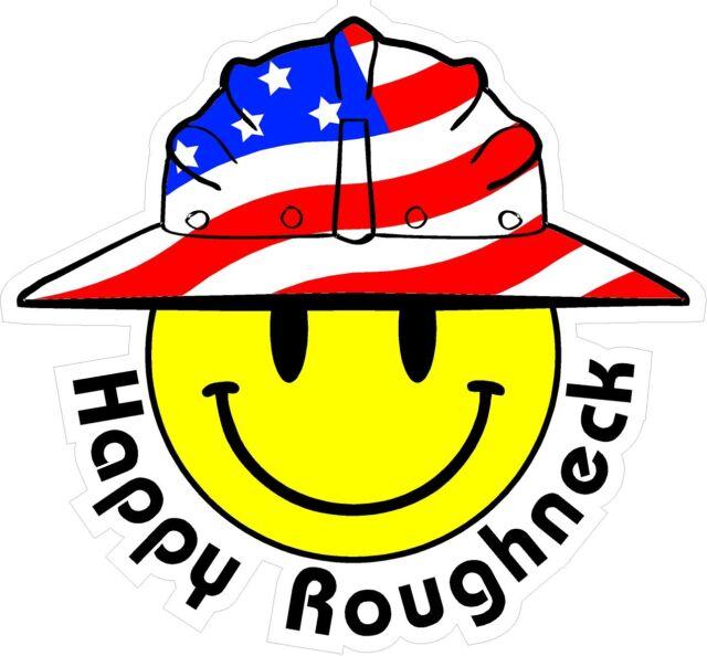 3 Happy Roughneck Smiley USA Hardhat Oilfield Helmet Toolbox Sticker  H893