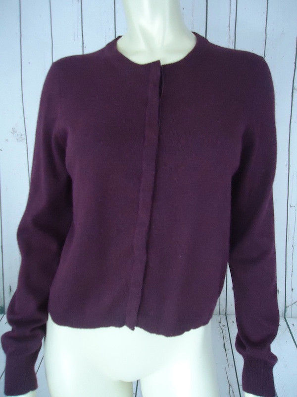 The Limited Sweater L Snap Front Purple Cotton Angora Blend Cardigan Soft