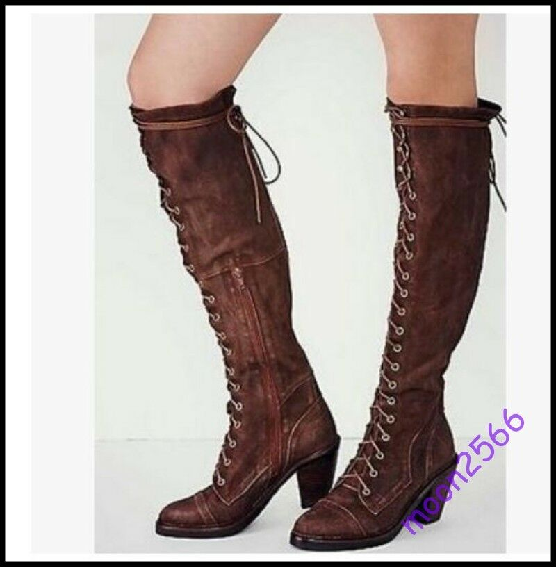 Womens Suede Leather Lace Up Cuban Mid Heel Zip OVer Knee High Thigh Tall Boots