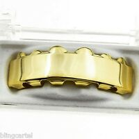Grillz 14k Gold Plated Upper Bar Grill Six Top Teeth Slugs Hip Hop Mouth Grills