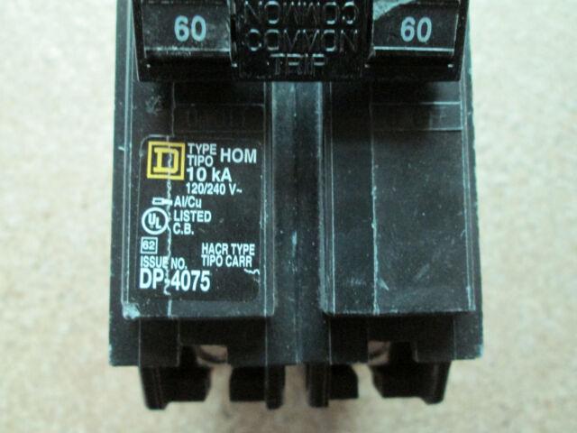 New in Box Square D Homeline HOM260 2 Pole 60 amp Circuit Breaker
