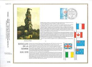 FEUILLET-PHILATELIQUE-SUR-LES-BATAILLES-DE-LA-SOMME-1916-1976