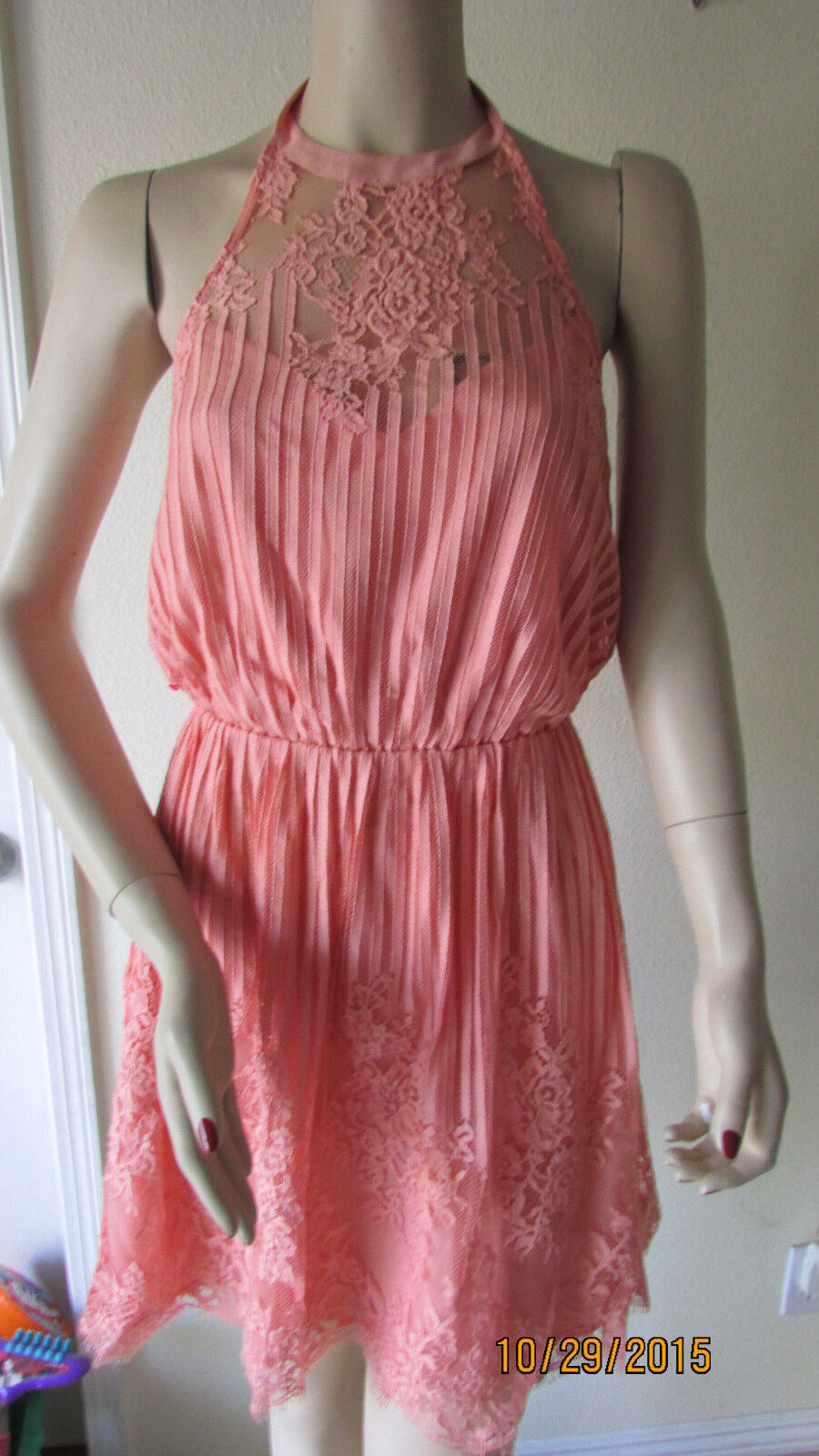 NWT BEBE STRIPED LACE LACE LACE HALTER DRESS ce6ae2