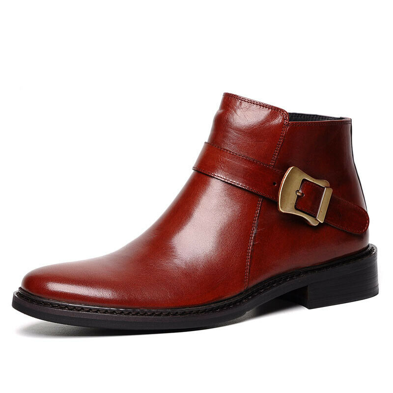 New Business Men's Genuine Leather Ankle Boots Buckle Inside Zip Formal Shoes