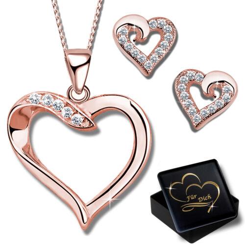 Herz Ohrringe Kette mit Anhänger 925 Silber Rosegold für Damen Frauen Schmuckset