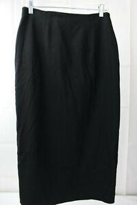 Jones-New-York-Worsted-Wool-Blend-Black-Mid-Calf-Slit-Lined-Pencil-Skirt-Size-10