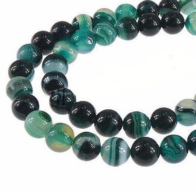 Natürliche Streifen Achat Perlen Rund Indische Sapphire Blau 6mm Edelsteine G22