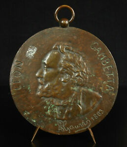 Medaglia-Leon-Gambetta-a-Grieco-1883-Uomo-Politica-Repubblicano-Cahors-Medal