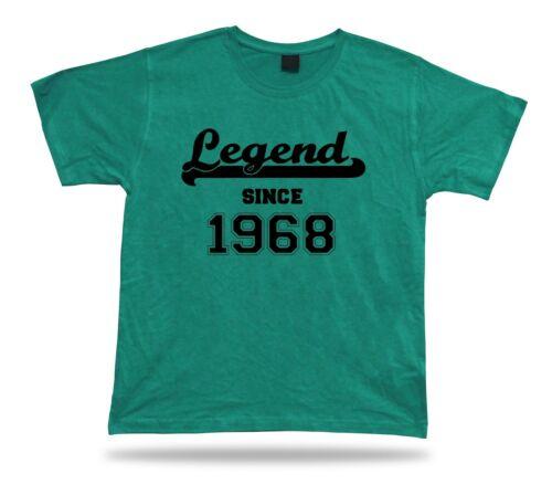 Printed T shirt tee Legend since 1968 happy birthday present gift idea unisex