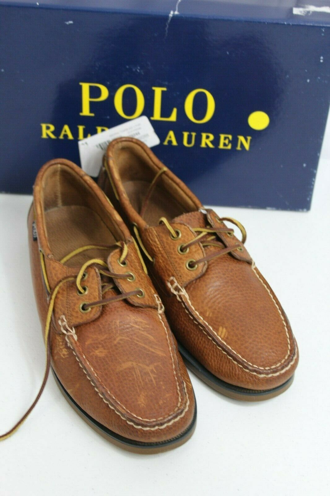 Polo Ralph Lauren Size 9.5D Men Bienne Brown Leather Boat Dock Loafers shoes  99