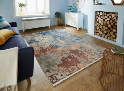 MED /& LARGE SOFT ABSTRACT VINTAGE FADED DISTRESSED PAVILLION SEALIFE RUGS