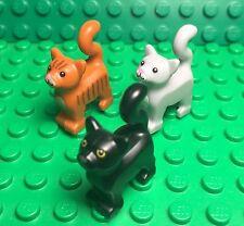 Lego New Lot Black,light Gray,dark Orange Cats Standing Style Friends Kitten Pet