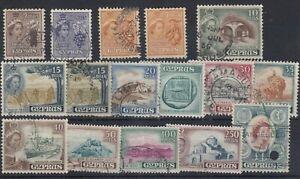 Cyprus-QEII-1955-Set-To-1-SG173-187-No-500m-Fine-Used-J8564