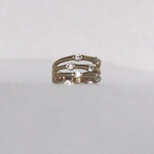 Gold plated 4 row bamboo cz ring size 7 Lifetime guaran