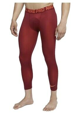 New Nike Pro Colorburst Full Length Mens Compression Tights AH7985-677 Sz S  Red | eBay