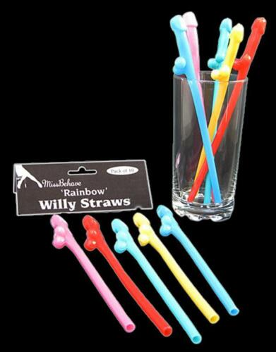 Hen night party accessoires couleur arc-en-willy pailles choisir qté 4-32